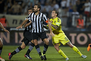 Daniel Agger, anf�rer (Br�ndby IF), Alexandros Tziolis, anf�rer (Paok FC)