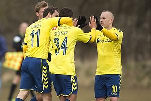 Johan Elmander (Br�ndby IF), Daniel St�ckler, m�lscorer (Br�ndby IF), Magnus Eriksson (Br�ndby IF)
