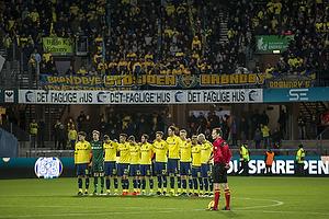 Christian N�rgaard (Br�ndby IF), Frederik R�nnow (Br�ndby IF), Kamil Wilczek (Br�ndby IF), Svenn Crone (Br�ndby IF), Frederik Holst (Br�ndby IF), Andrew Hjulsager (Br�ndby IF), Jan Kliment (Br�ndby IF), Benedikt R�cker (Br�ndby IF), Hj�rtur Hermannsson (Br�ndby IF), Hany Mukhtar (Br�ndby IF), Johan Larsson, anf�rer (Br�ndby IF)