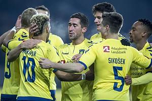 Hany Mukhtar, m�lscorer (Br�ndby IF), Frederik Holst (Br�ndby IF), Christian N�rgaard (Br�ndby IF), Gregor Siko�ek (Br�ndby IF)