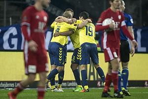 Teemu Pukki (Br�ndby IF), Christian N�rgaard (Br�ndby IF)m Kamil Wilczek, m�lscorer (Br�ndby IF)