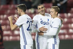 Andrija Pavlovic, m�lscorer (FC K�benhavn), Youssef Toutouh (FC K�benhavn), Ludwig Augustinsson (FC K�benhavn)
