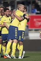 Teemu Pukki, m�lscorer (Br�ndby IF), Johan Larsson, anf�rer (Br�ndby IF), Frederik Holst (Br�ndby IF)