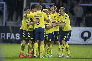 Hany Mukhtar, m�lscorer (Br�ndby IF), Johan Larsson, anf�rer (Br�ndby IF)