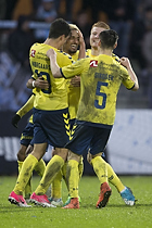Hany Mukhtar, m�lscorer (Br�ndby IF), Christian N�rgaard (Br�ndby IF), Gregor Siko�ek (Br�ndby IF)