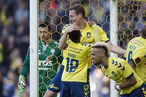 Gustaf Nilsson, m�lscorer (Br�ndby IF), Lebogang Phiri (Br�ndby IF)