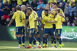 Kasper Fisker, m�lscorer (Br�ndby IF), Kevin Mensah (Br�ndby IF), Hj�rtur Hermannsson (Br�ndby IF), Benedikt R�cker (Br�ndby IF)