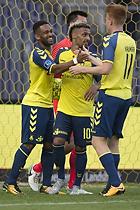Kevin Mensah, m�lscorer (Br�ndby IF), Hany Mukhtar (Br�ndby IF), Zsolt Kalm�r (Br�ndby IF)