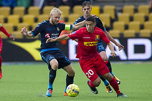 Johan Larsson, anf�rer (Br�ndby IF), Patrick da Silva (FC Nordsj�lland)