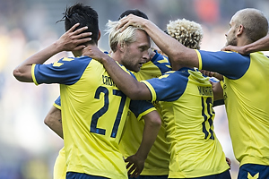 Johan Larsson, m�lscorer (Br�ndby IF), Svenn Crone (Br�ndby IF), Hany Mukhtar (Br�ndby IF)