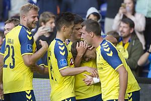 Jan Kliment, m�lscorer (Br�ndby IF), Paulus Arajuuri (Br�ndby IF), Svenn Crone (Br�ndby IF), Christian N�rgaard (Br�ndby IF)