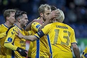 Teemu Pukki, m�lscorer (Br�ndby IF), Besar Halimi (Br�ndby IF), Johan Larsson, anf�rer (Br�ndby IF)