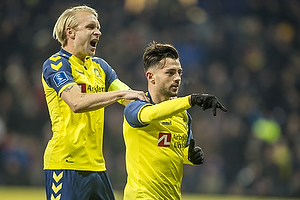 Johan Larsson, anf�rer (Br�ndby IF), Besar Halimi, m�lscorer (Br�ndby IF)