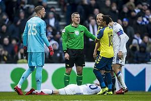 Michael Tykgaard, dommer, Robin Olsen (FC K�benhavn), Hany Mukhtar (Br�ndby IF), William Kvist, anf�rer (FC K�benhavn)