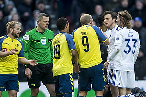Michael Tykgaard, dommer, Hany Mukhtar (Br�ndby IF), Teemu Pukki (Br�ndby IF), Rasmus Falk (FC K�benhavn), William Kvist, anf�rer (FC K�benhavn)