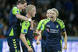 Hj�rtur Hermannsson, m�lscorer (Br�ndby IF), Benedikt R�cker (Br�ndby IF), Johan Larsson, anf�rer (Br�ndby IF)
