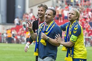 Alexander Zorniger, cheftr�ner (Br�ndby IF), Johan Larsson, anf�rer (Br�ndby IF)