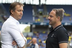 Alexander Zorniger, cheftr�ner (Br�ndby IF), Kasper Hjulmand, cheftr�ner (FC Nordsj�lland)