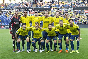 Marvin Schw�be (Br�ndby IF), Joel Kabongo (Br�ndby IF), Jens Martin Gammelby (Br�ndby IF), Paulus Arajuuri (Br�ndby IF), Mikael Uhre (Br�ndby IF), Ante Erceg (Br�ndby IF), Anthony Jung (Br�ndby IF), Lasse Vigen Christensen (Br�ndby IF), Dominik Kaiser (Br�ndby IF), Josip Radosevic (Br�ndby IF), Hany Mukhtar, anf�rer (Br�ndby IF)