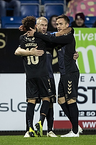 Johan Larsson, anf�rer (Br�ndby IF), Hany Mukhtar (Br�ndby IF), Lasse Vigen Christensen (Br�ndby IF)