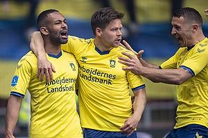 Kevin Mensah, m�lscorer (Br�ndby IF), Dominik Kaiser (Br�ndby IF), Josip Radosevic (Br�ndby IF)