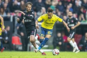 Hany Mukhtar (Br�ndby IF), Jakob Poulsen, anf�rer (FC Midtjylland)