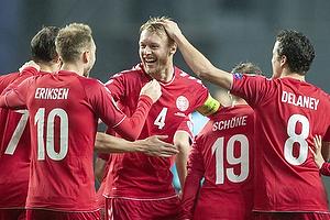 Simon Kj�r, anf�rer (Danmark), Christian Eriksen (Danmark), Thomas Delaney (Danmark)