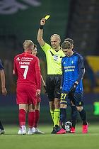Simon Hedlund (Br�ndby IF), Peter Kj�rdgaard-Andersen, dommer, Mikkel Rygaard (FC Nordsj�lland)