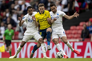 Mikael Uhre (Br�ndby IF), Sotirios Papagiannopoulos (FC K�benhavn), Carlos Zeca, anf�rer (FC K�benhavn)