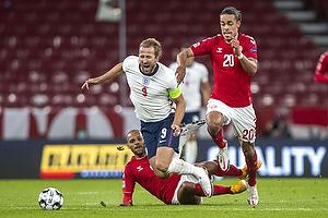 Harry Kane, anf�rer  (England), Martin C. Braithwaite  (Danmark), Yussuf Poulsen  (Danmark)