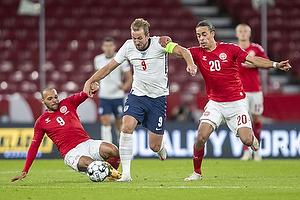Harry Kane, anf�rer  (England), Yussuf Poulsen  (Danmark), Martin C. Braithwaite  (Danmark)