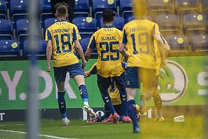 Anis Slimane (Br�ndby IF), Jesper Lindstr�m (Br�ndby IF), Simon Hedlund, m�lscorer (Br�ndby IF)